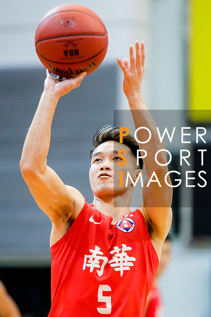 Lo Yi Ting #5 of SCAA Men's Basketball Team concentrates prior to a free throw during the Hong Kong Basketball League game between SCAA vs Winling at Southorn Stadium on June 19, 2018 in Hong Kong. Photo by Yu Chun Christopher Wong / Power Sport Images