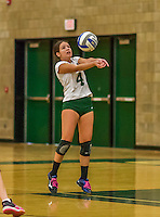 1 November 2015: SUNY College at Old Westbury Panther Libero and Defensive Specialist Sofia Goris, a Freshman from Rego Park, NY, in action against the Yeshiva University Maccabees at SUNY Old Westbury in Old Westbury, NY. The Panthers edged out the Maccabees 3-2 in NCAA women's volleyball, Skyline Conference play. Mandatory Credit: Ed Wolfstein Photo *** RAW (NEF) Image File Available ***