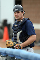 June 21st 2008:  Catcher Zach Booker of the Mahoning Valley Scrappers, Class-A affiliate of the Cleveland Indians, during a game at Dwyer Stadium in Batavia, NY.  Photo by:  Mike Janes/Four Seam Images