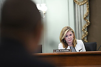United States Senator Marsha Blackburn (Republican of Tennessee) asks a question during a United States Senate Committee on Commerce, Science, and Transportation oversight hearing to examine the Federal Communications Commission in Washington, DC on June 24, 2020. <br /> Credit: Jonathan Newton / Pool via CNP/AdMedia