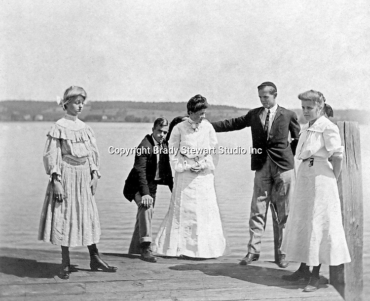 Lakewood NY:  Clark & Helen Stewart and friends waiting on the City of Cleveland ferry. Photographs were taken during a church field trip to Chautauqua Institution in New York (Lake Chautauqua). The Stewart family and friends visited Chautauqua during 1901 to hear Stewart's relative, Dr. S.H. Clark speak at the institute. Alice Brady Stewart chaperoned and Brady Stewart came along to photograph the trip.  The Gallery provides a glimpse of how the privileged and church faithful spent summers at Lake Chautauqua at the turn of the century.