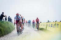 Marco Haller (AUT/Katusha Alpecin) leading the peloton over the cobbles. <br /> <br /> 117th Paris-Roubaix (1.UWT)<br /> 1 Day Race: Compiègne-Roubaix (257km)<br /> <br /> ©kramon