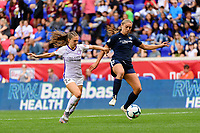 HARRISON, NJ - SEPTEMBER 29: Marisa Viggiano #23 of the Orlando Pride and Erica Skroski #8 of Sky Blue FC during a game between Orlando Pride and Sky Blue FC at Red Bull Arena on September 29, 2019 in Harrison, New Jersey.