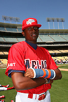 August 9 2008: LeVon Washington participates in the Aflac All American baseball game for incoming high school seniors at Dodger Stadium in Los Angeles,CA.  Photo by Larry Goren/Four Seam Images