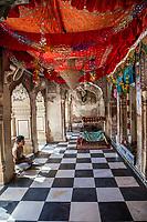 India, Dehradun. Young Man Visiting the Durbar Shri Guru Ram Rai Ji Maharaj, a Sikh Temple built in 1707.