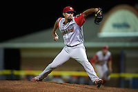 Williamsport Crosscutters pitcher Skylar Hunter (25) delivers a pitch during a game against the Batavia Muckdogs on August 27, 2015 at Dwyer Stadium in Batavia, New York.  Batavia defeated Williamsport 3-2.  (Mike Janes/Four Seam Images)