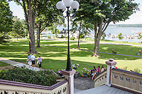 View from the  main porch of the Athenaeum Hotel in Chautauqua, NY. June 27, 2014. Photo by Brendan Bannon