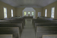 Interior of the Missionary Baptist Church in Cades Cove, Great Smoky Mountains National Park