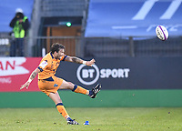1st May 2021; Recreation Ground, Bath, Somerset, England; European Challenge Cup Rugby, Bath versus Montpellier; Benoit Paillaugue of Montpellier kicks a penalty goal
