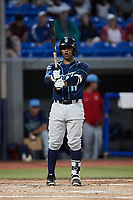 Israel Pineda (11) of the Wilmington Blue Rocks at bat against the Hudson Valley Renegades at Dutchess Stadium on July 27, 2021 in Wappingers Falls, New York. (Brian Westerholt/Four Seam Images)