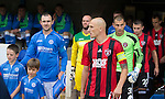 St Johnstone v FC Spartak Trnava...31.07.14  Europa League 3rd Round Qualifier<br /> Captain's Dave Mackay and Marek Janecka lead the teams out<br /> Picture by Graeme Hart.<br /> Copyright Perthshire Picture Agency<br /> Tel: 01738 623350  Mobile: 07990 594431