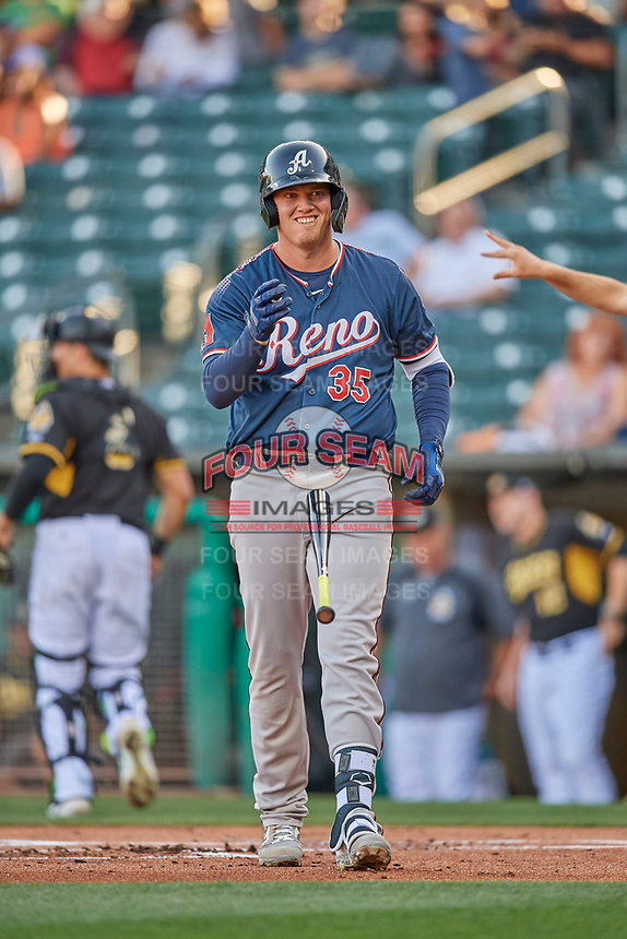 Kevin Cron (35) of the Reno Aces bats against the Salt Lake Bees at Smith's Ballpark on June 26, 2019 in Salt Lake City, Utah. The Aces defeated the Bees 6-4. (Stephen Smith/Four Seam Images)