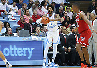 CHAPEL HILL, NC - FEBRUARY 25: Leaky Black #1 of the University of North Carolina passes the ball during a game between NC State and North Carolina at Dean E. Smith Center on February 25, 2020 in Chapel Hill, North Carolina.