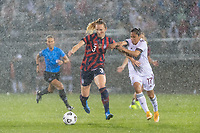 EAST HARTFORD, CT - JULY 1: Samantha Mewis #3 of the United States is marked by Lizbeth Ovalle #17 of Mexico during a game between Mexico and USWNT at Rentschler Field on July 1, 2021 in East Hartford, Connecticut.
