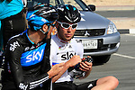 Team Sky Procycling and World Champion Mark Cavendish (GBR) and Michael Barry (CAN) before the 2nd Stage of the 2012 Tour of Qatar a team time trial at Lusail Circuit, Doha, Qatar, 6th February 2012 (Photo Eoin Clarke/Newsfile)