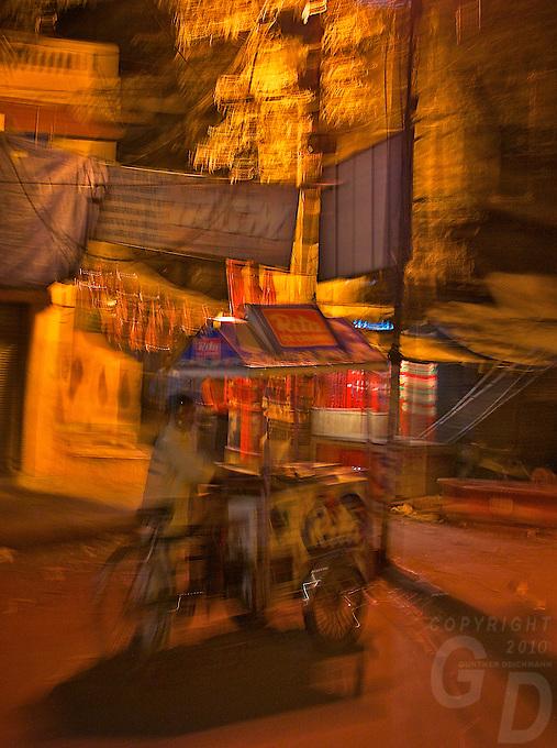 Abstract at night in the streets of Varanasi