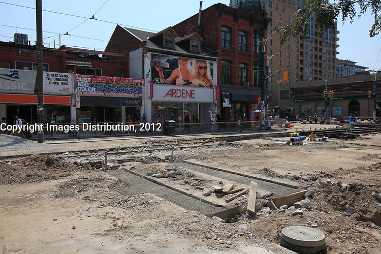 Toronto (ON) CANADA - July 2012 - Queen street west - street repair