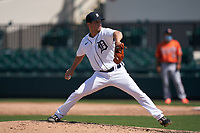 Detroit Tigers pitcher Chance Kirby (13) during a Minor League Spring Training game against the Baltimore Orioles on April 14, 2021 at Joker Marchant Stadium in Lakeland, Florida.  (Mike Janes/Four Seam Images)