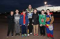 Mikkel Bech of Lakeside with some special guests for the Leicester Lions meeting - Lakeside Hammers vs Leicester Lions, Elite League Speedway at the Arena Essex Raceway, Pufleet - 04/04/14 - MANDATORY CREDIT: Rob Newell/TGSPHOTO - Self billing applies where appropriate - 0845 094 6026 - contact@tgsphoto.co.uk - NO UNPAID USE