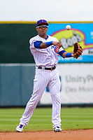 Iowa Cubs shortstop Addison Russell (3) throws the ball to third base between innings during a Pacific Coast League game against the San Antonio Missions on May 2, 2019 at Principal Park in Des Moines, Iowa. Iowa defeated San Antonio 8-6. (Brad Krause/Four Seam Images)