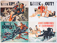 BNPS.co.uk (01202) 558833. <br /> Pic: Ewbanks/BNPS<br /> <br /> A rare movie poster for the James Bond film Thunderball that was designed to be torn into four pieces is tipped to sell for £12,000.<br /> <br /> The quad poster contains four individual works of art promoting the 1965 movie.<br /> <br /> The panels show Sean Connery as 007 flying through the air in a jet suit, being mobbed by glamorous women, fighting a scuba diver and sat on a beach poised with weapon in hand.