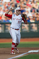 North Carolina State third baseman Grant Clyde (22) makes a throw to first base during Game 10 of the 2013 Men's College World Series against the North Carolina Tar Heels on June 20, 2013 at TD Ameritrade Park in Omaha, Nebraska. The Tar Heels defeated the Wolfpack 7-0, eliminating North Carolina State from the tournament. (Andrew Woolley/Four Seam Images)