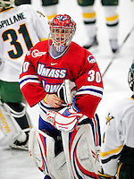 6 November 2009: University of Massachusetts Lowell River Hawks' goaltender Nevin Hamilton, a Senior from Ashland, MA, skates off the ice after a game against the University of Vermont Catamounts at Gutterson Fieldhouse in Burlington, Vermont. The Hockey East rivals battled to a 3-3 tie. Mandatory Credit: Ed Wolfstein Photo