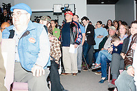 People gather in the audience before Texas senator and Republican presidential candidate Ted Cruz speaks at a town hall at Crossing Life Church in Windham, New Hampshire, on Tues. Feb. 2, 2016. The day before, Cruz won the Iowa caucus.