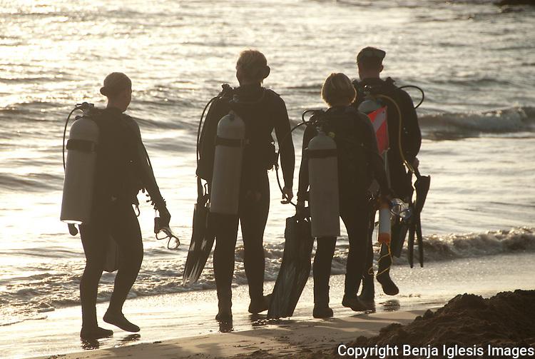 Divers walking on the beach,Ulua beach maui Hawaii.