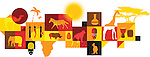 Illustrative collage of African animals over white background