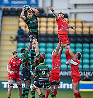 29th September 2020; Franklin Gardens, Northampton, East Midlands, England; Premiership Rugby Union, Northampton Saints versus Sale Sharks; David Ribbans of Northampton Saints wins a lineout