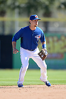 Toronto Blue Jays infielder Kevin Nolan (72) during a spring training game against the Pittsburgh Pirates on February 28, 2014 at Florida Auto Exchange Stadium in Dunedin, Florida.  Toronto defeated Pittsburgh 4-2.  (Mike Janes/Four Seam Images)