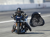 Feb 8, 2020; Pomona, CA, USA; NHRA top fuel nitro Harley Davidson motorcycle rider Tim Kerrigan during qualifying for the Winternationals at Auto Club Raceway at Pomona. Mandatory Credit: Mark J. Rebilas-USA TODAY Sports