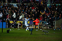Saturday 2nd Febuaray 2014<br /> Pictured: Wayne Routledge Celebrates his goal<br /> Re: Barclays Premier League Swansea City FC  v Cardiff City FC at the Liberty Stadium, Swansea