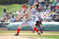 April 11, 2010:  First overall draft pick of the 2009 MLB Draft Stephen Strasburg (37) delivers the last pitch of his professional debut with the Harrisburg Senators, Double-A affiliate of the Washington Nationals, in a game vs. the Altoona Curve, affiliate of the Pittsburgh Pirates, at Blair County Ballpark in Altoona, PA.  Photo By Mike Janes/Four Seam Images