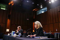 American Bar Association representatives Pamela Roberts (R) and Randall Noel (L) participate in the confirmation hearing for Supreme Court nominee Judge Amy Coney Barrett before the Senate Judiciary Committee on Capitol Hill in Washington, DC, USA, 15 October 2020. Barrett was nominated by President Donald Trump to fill the vacancy left by Justice Ruth Bader Ginsburg who passed away in September.<br /> Credit: Shawn Thew / Pool via CNP /MediaPunch