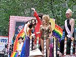 ©2009 David Burnett / Contact Press Images.NY: 212-695 7750.June 28, 2009..Jordan Kai Burnett ,  on the Stonewall float, 2009 Gay Pride Parade New York City.Senator Chuck Schumer.