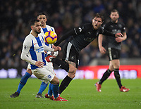 Burnley's Jeff Hendrick (right) battles with Brighton & Hove Albion's Martin Montoya (left) <br /> <br /> <br /> Photographer David Horton/CameraSport<br /> <br /> The Premier League - Brighton and Hove Albion v Burnley - Saturday 9th February 2019 - The Amex Stadium - Brighton<br /> <br /> World Copyright © 2019 CameraSport. All rights reserved. 43 Linden Ave. Countesthorpe. Leicester. England. LE8 5PG - Tel: +44 (0) 116 277 4147 - admin@camerasport.com - www.camerasport.com