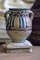 Ceramics, Nabeul, Tunisia.  Qallaline Pot, early 20th. Century.