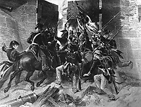 Capture of Fort George. Col. Winfield Scott leading the attack. July 1813. Copy of engraving after Alonzo Chappel, ca. 1850s. (Army)<br /> Exact Date Shot Unknown<br /> NARA FILE #:  111-SC-96968<br /> WAR & CONFLICT BOOK #:  85