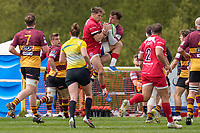 Match action during the Greene King IPA Championship match between Ampthill RUFC and Jersey Reds at Dillingham Park, Ampthill, England on 1 May 2021. Photo by David Horn.