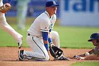Hartford Yard Goats shortstop Pat Valaika (10) fields a throw as Tyler Wade (right) slides into second base during the first game of a doubleheader against the Trenton Thunder on June 1, 2016 at Sen. Thomas J. Dodd Memorial Stadium in Norwich, Connecticut.  Trenton defeated Hartford 4-2.  (Mike Janes/Four Seam Images)