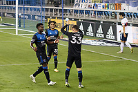 SAN JOSE, CA - OCTOBER 07: Paul Marie #33 of San Jose Earthquakes celebrates scoring a goal with teammates Siad Haji #19 and Gilbert Fuentes #35 during a game between Vancouver Whitecaps and San Jose Earthquakes at Earthquakes Stadium on October 07, 2020 in San Jose, California.