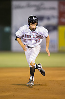 Frank Califano (22) of the Kannapolis Intimidators takes off for third base against the Asheville Tourists at Intimidators Stadium on May 28, 2016 in Kannapolis, North Carolina.  The Intimidators defeated the Tourists 5-4 in 10 innings.  (Brian Westerholt/Four Seam Images)