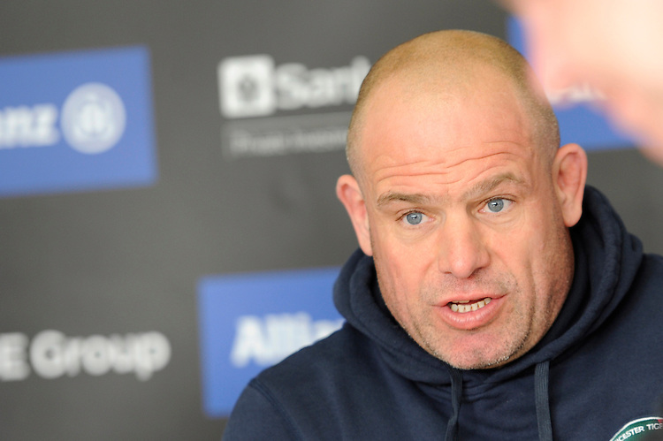 Richard Cockerill, Leicester Tigers Director of Rugby, during the press conference after the Aviva Premiership Rugby match between Saracens and Leicester Tigers at Allianz Park on Saturday 11th April 2015 (Photo by Rob Munro)