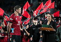 NZ Rugby's Dr Farah Palmer presents Crusaders captain Scott Barrett with the series trophy after the 2021 Super Rugby Aotearoa final between the Crusaders and Chiefs at Orangetheory Stadium in Christchurch, New Zealand on Saturday, 8 May 2021. Photo: Joe Johnson / lintottphoto.co.nz