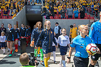 Sandy, UT - Saturday April 14, 2018: Becky Sauerbrunn and Abby Smith during a regular season National Women's Soccer League (NWSL) match between the Utah Royals FC and the Chicago Red Stars at Rio Tinto Stadium.
