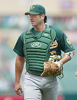 Greg Myers of the Oakland Athletics during a 2002 MLB season game against the Los Angeles Angels at Angel Stadium, in Anaheim, California. (Larry Goren/Four Seam Images)