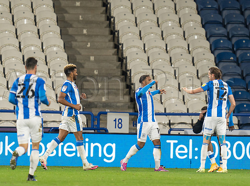 3rd November 2020, The John Smiths Stadium, Huddersfield, Yorkshire, England; English Football League Championship Football, Huddersfield Town versus Bristol City; Huddersfield team celebrate their 43rd minute opening goal