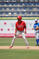 Philadelphia Phillies Luis Garcia (5) leads off second base during an Instructional League game against the Toronto Blue Jays on September 23, 2019 at Spectrum Field in Clearwater, Florida.  (Mike Janes/Four Seam Images)